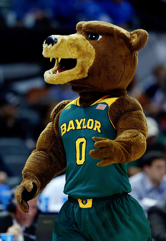 . The Baylor Bears mascot performs during the third round of the 2014 NCAA Men\'s Basketball Tournament against the Creighton Bluejays at the AT&T Center on March 23, 2014 in San Antonio, Texas.  (Photo by Tom Pennington/Getty Images)