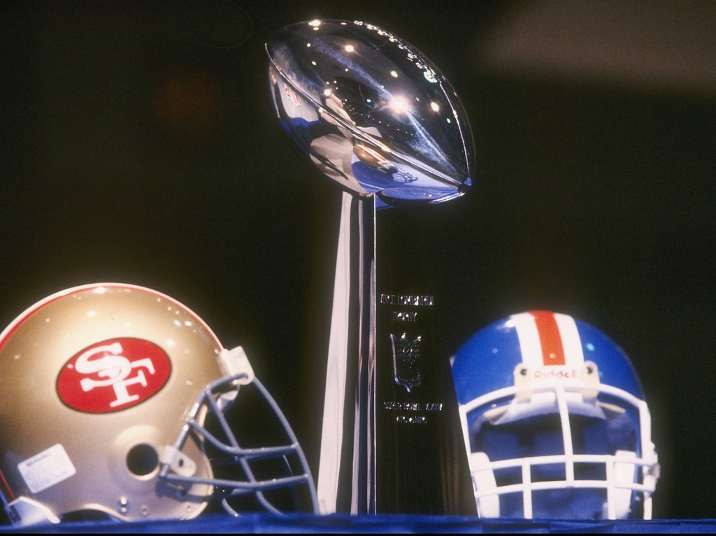 . The Vince Lombardi Trophy on display during Super Bowl XXIV at the Superdome in New Orleans, Louisiana.