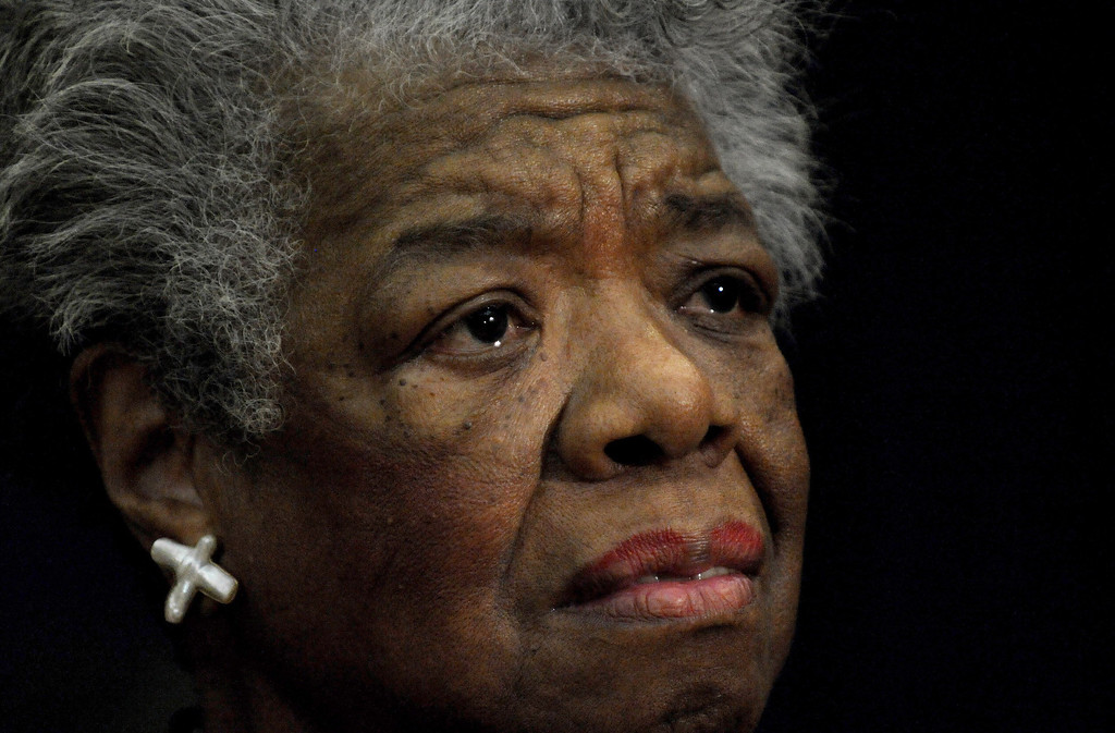 . In this November 21, 2008 file photo, US poet Maya Angelou reads a poem during a ceremony to present South African Archbishop Desmond Tutu of Cape Town the William J. Fulbright Prize for International Understanding at the State Department in Washington, DC. Maya Angelou has died May 28, 2014 at the age of 86.   AFP PHOTO/Tim SLOANTIM SLOAN/AFP/Getty Images