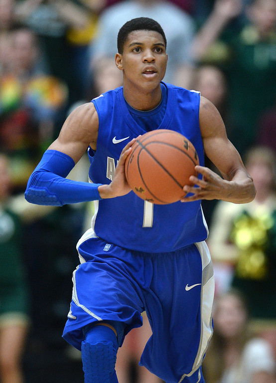 . FORT COLLINS, CO. - JANUARY 18:  Air Force sophomore guard Tre Coggins (1) advanced the ball up the court in the first half. The Colorado State men\'s basketball team hosted Air Force at Moby Arena in Fort Collins Saturday night, January 18, 2014. Photo By Karl Gehring/The Denver Post