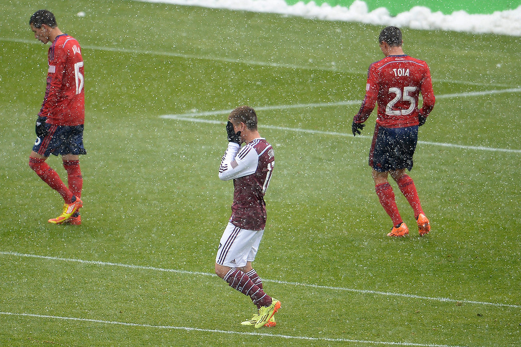 . Dillon Serna (17) of Colorado Rapids reacts to missing a shot during the first half. The Colorado Rapids host Chivas U.S.A. on Sunday, May 11, 2014. (Photo by AAron Ontiveroz/The Denver Post)