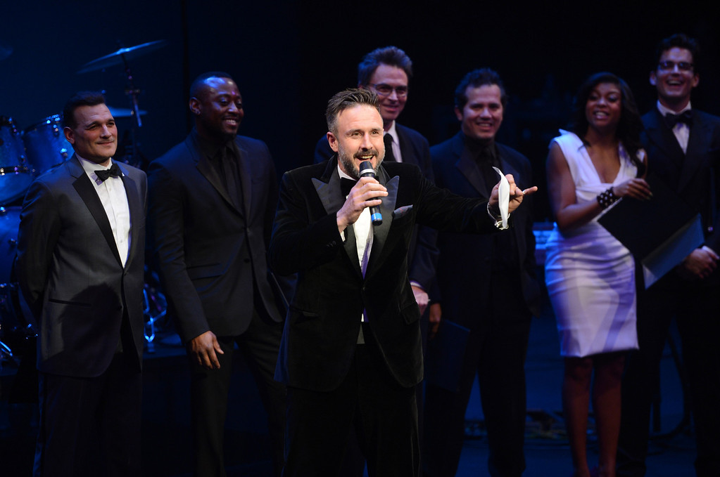 . WASHINGTON, DC - JANUARY 21: David Arquette (C) speaks onstage with Phillip Bloch, Omar Epps, Tim Daly, John Leguizamo, Taraji P. Henson, and Matt Bomer at The Creative Coalition\'s 2013 Inaugural Ball at the Harman Center for the Arts on January 21, 2013 in Washington, United States.  (Photo by Stephen Lovekin/Getty Images)