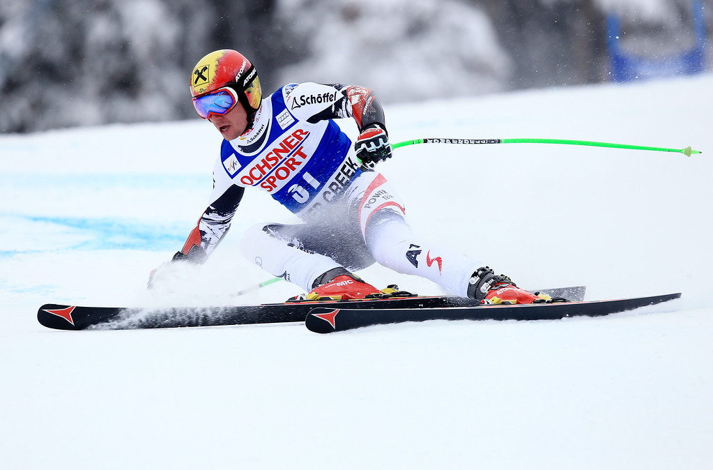 . Marcel Hirscher of Austria in action during the 2013 Audi FIS Beaver Creek World Cup Men\'s Super G race on December 7, 2013 in Beaver Creek, Colorado.  (Photo by Doug Pensinger/Getty Images)