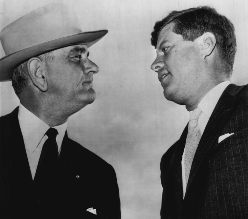 . Kennedy and Johnson meet at Amarillo, Texas, where a jet plane interrupted Kennedy\'s campaign speech on Nov. 4, 1960. Associated Press file