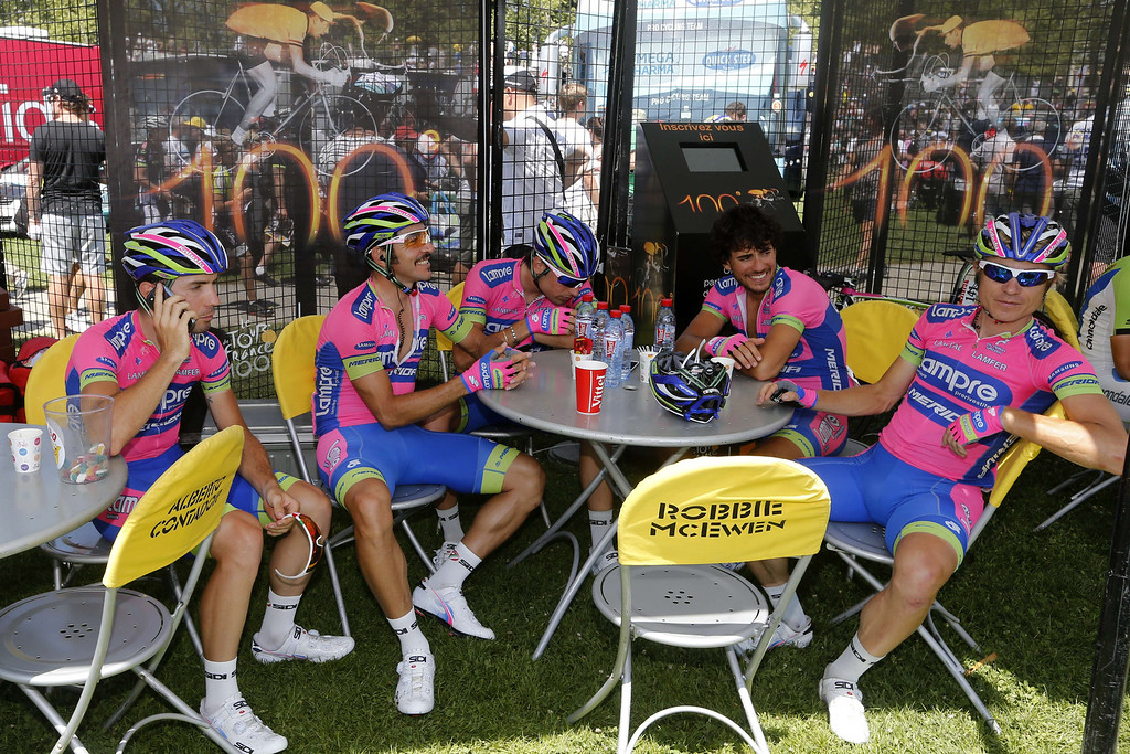 . Italian Lampre cycling team riders are seen at the departure village in Annecy before the start of the 125 km twentieth stage of the 100th edition of the Tour de France cycling race on July 20, 2013 between Annecy and Annecy-Semnoz, French Alps.  JOEL SAGET/AFP/Getty Images