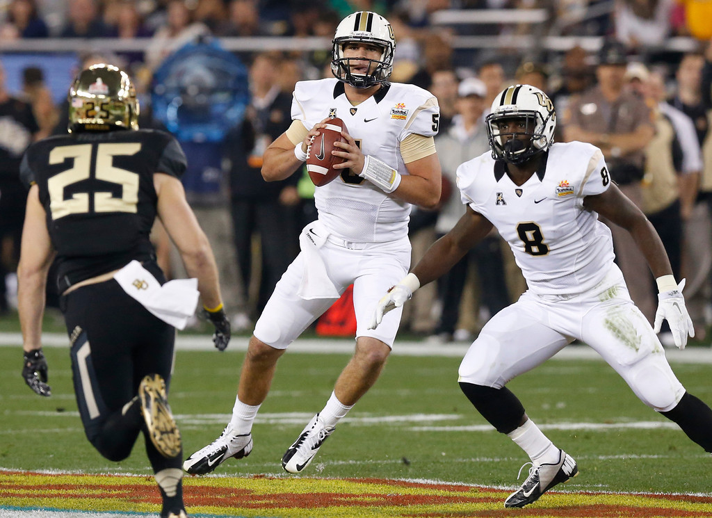 . Central Florida quarterback Blake Bortles (5) looks to throw as teammate Storm Johnson (8) watches Baylor defensive back Sam Holl (25) during the first half of the Fiesta Bowl NCAA college football game, Wednesday, Jan. 1, 2014, in Glendale, Ariz. (AP Photo/Ross D. Franklin)