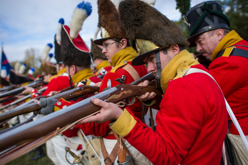 . Historical society enthusiasts from Norway in the role of Saxon grenadiers prepare to commemorate the 200th anniversary of The Battle of Nations on October 18, 2013 in Leipzig, Germany.  (Photo by Jens Schlueter/Getty Images)