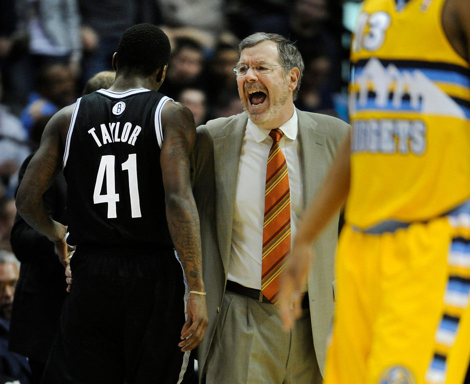 . DENVER, CO. - MARCH 29: Nets coach P.J. Carlesimo was animated in the first half. The Denver Nuggets hosted the Brooklyn Nets Friday night, March 29, 2013 at the Pepsi Center in Denver.  (Photo By Karl Gehring/The Denver Post)