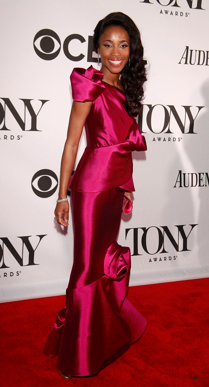 ". Actress Valisia Lekae, nominated for best performance by an actress in a leading role in a musical for ""Motown The Musical,\"" arrives to the American Theatre Wing\'s annual Tony Awards in New York June 9, 2013. REUTERS/Carlo Allegri"