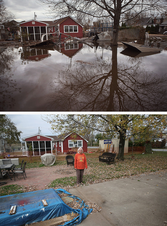 . NEW YORK, NY - NOVEMBER 01: (top) Water continues to flood a neighborhood on November 1, 2012 in the Ocean Breeze area of the Staten Island borough of New York City. Most homes in the seaside community were inundated by the ocean surge caused by Superstorm Sandy. NEW YORK, NY - OCTOBER 17: (bottom)  Janet Hague stands in her back yard on October 17, 2013 in the Ocean Breeze area of the Staten Island borough of New York City. Her home was heavily damaged by Sandy flood waters and after almost a year of renovations, she moved back in on October 15. Hurricane Sandy made landfall on October 29, 2012 near Brigantine, New Jersey and affected 24 states from Florida to Maine and cost the country an estimated $65 billion.  (Photos by John Moore/Getty Images)