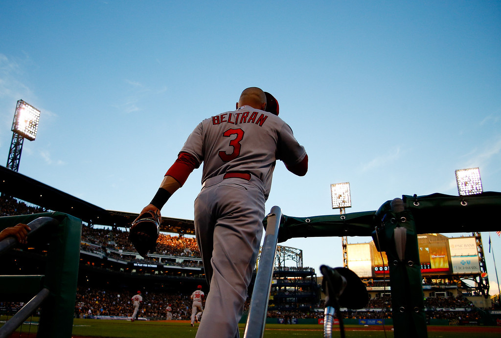 . Carlos Beltran #3 of the St. Louis Cardinals leaves the dugout during Game Three of the National League Division Series against the Pittsburgh Pirates at PNC Park on October 6, 2013 in Pittsburgh, Pennsylvania.  (Photo by Justin K. Aller/Getty Images)