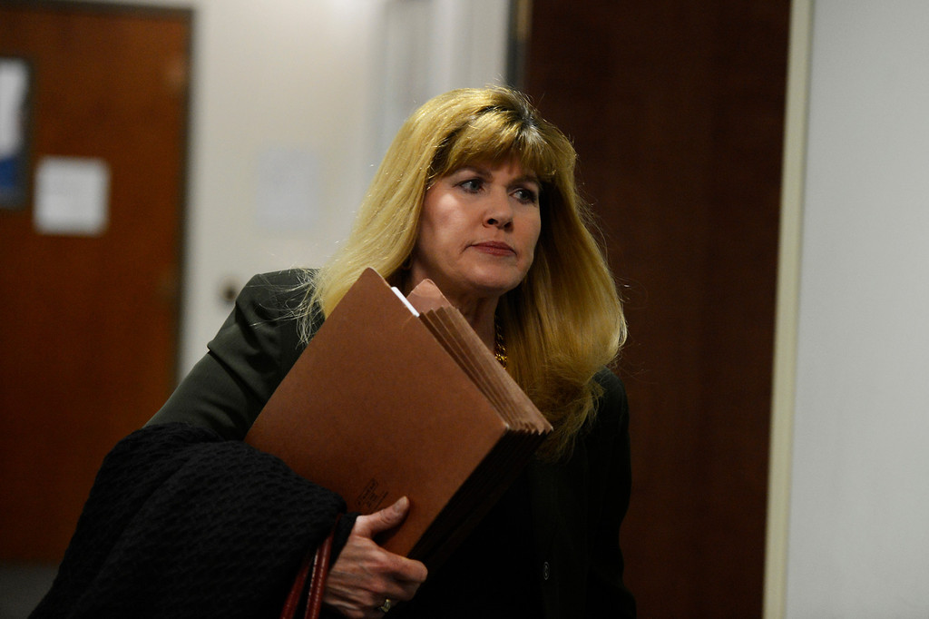 . CENTENNIAL, CO. - APRIL 10: Assistant district attorney Karen Pearson arrives for the hearing of Fox News reporter Jana Winter for protecting her sources in a story connected to mass murderer James Holmes at the Arapahoe County Justice Center April 10, 2013 Centennial, Colorado. (Photo By Joe Amon/The Denver Post)
