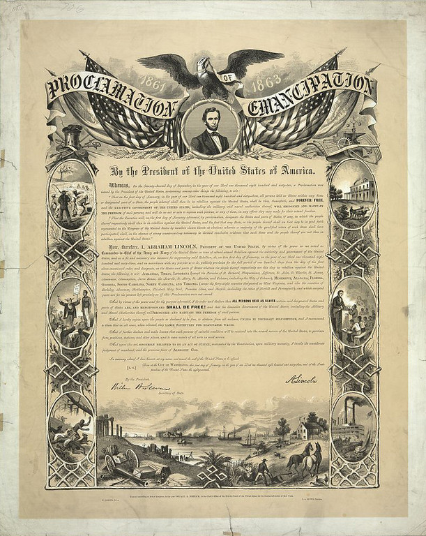 """. Proclamation of Emancipation by the President of the United States of America / W. Roberts del., C.A. Alvord, printer. Eagle with banner \""""Proclamation of Emancipation\"""" and U.S. flags over portrait of Abraham Lincoln above text framed along the sides with vignettes about slavery, escape, education of African Americans, and the American cotton industry. Below the text is an image of rebuilding southern agriculture in the ruins of the Civil War. c1864.  Library of Congress"""