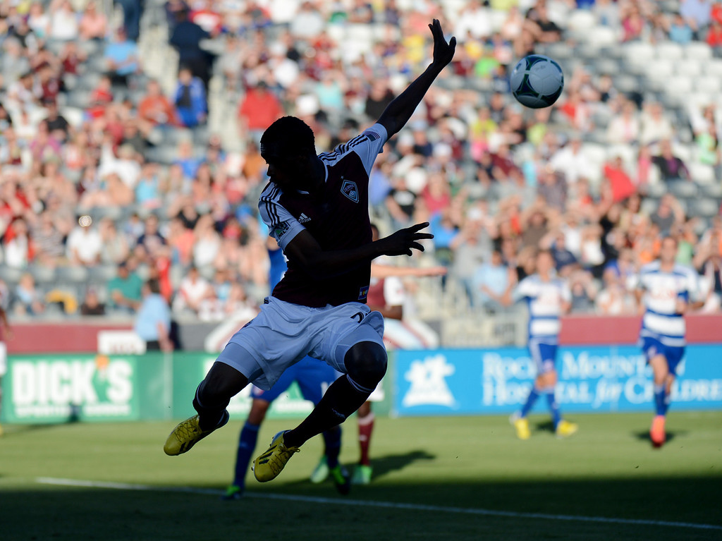 . COMMERCE CITY, CO. - June 01: Deshorn Brown of Colorado Rapids (26) aims goal in the first half of the game against FC Dallas at Dick\'s Sporting Goods Park. Commerce City, Colorado. June 1, 2013. (Photo By Hyoung Chang/The Denver Post)