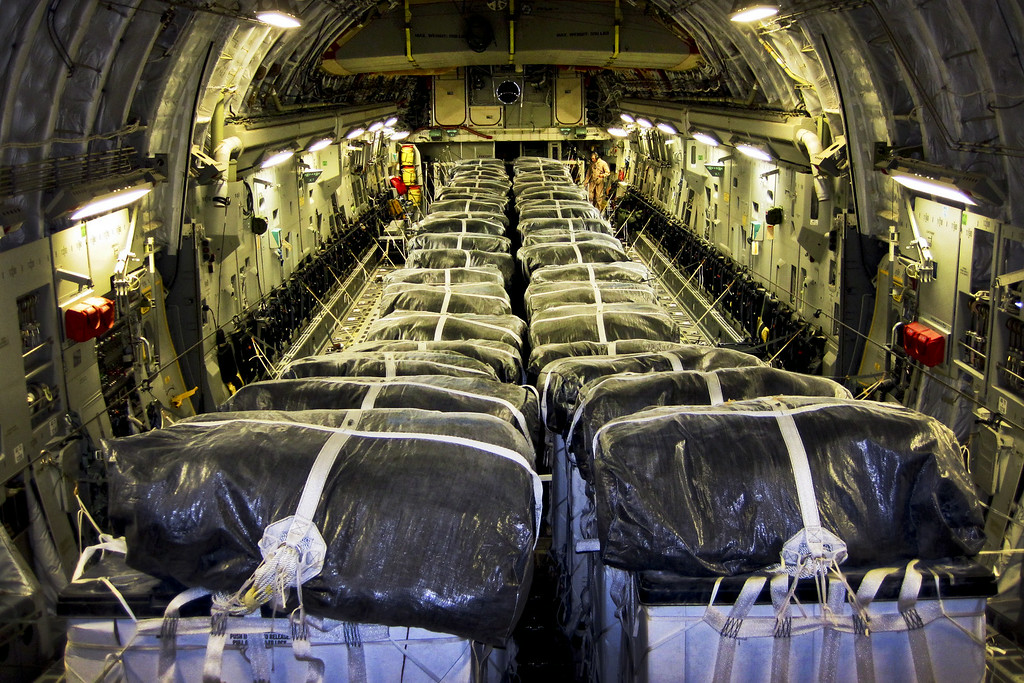 . In this image released by the US Air Force, straps secure water bundles aboard a C-17 Globemaster III before a humanitarian airdrop over Iraq on August 8, 2014. The 816th Expeditionary Airlift Squadron aircrew airdropped 40 bundles of water for displaced citizens near Sinjar, Iraq.  AFP PHOTO HANDOUT-US AIR FORCE/Staff Sgt. Vernon Young, Jr./AFP/Getty Images