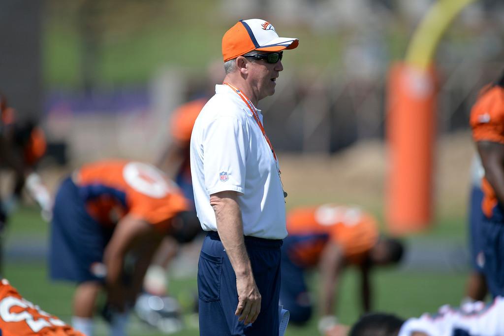 . Denver Broncos head coach John Fox looks on during OTAs June 11, 2014 at Dove Valley. (Photo by John Leyba/The Denver Post)