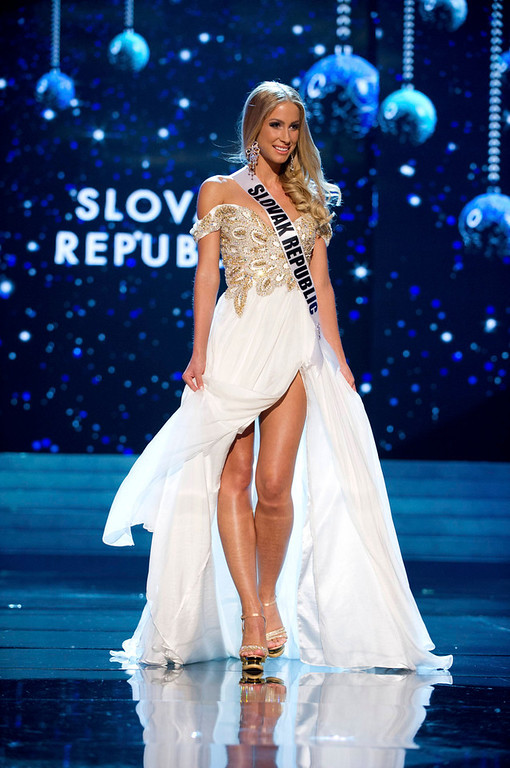 . Miss Slovak Republic 2012 Lubica Stepanova competes in an evening gown of her choice during the Evening Gown Competition of the 2012 Miss Universe Presentation Show in Las Vegas, Nevada, December 13, 2012. The Miss Universe 2012 pageant will be held on December 19 at the Planet Hollywood Resort and Casino in Las Vegas. REUTERS/Darren Decker/Miss Universe Organization L.P/Handout