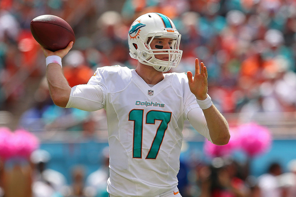 . Ryan Tannehill #17 of the Miami Dolphins passes during a game against the Baltimore Ravens at Sun Life Stadium on October 6, 2013 in Miami Gardens, Florida.  (Photo by Mike Ehrmann/Getty Images)