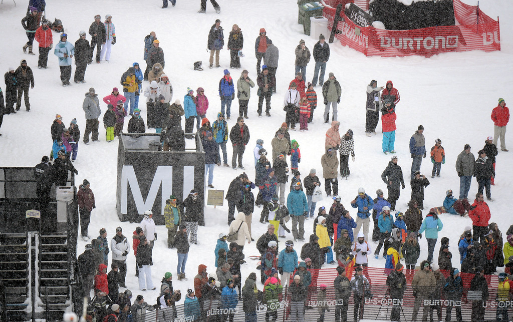 . VAIL, CO. - MARCH 1: People are watching the action during the men\'s slopestyle final of Burton U.S. Open. March 1, 2013. Vail, Colorado. (Photo By Hyoung Chang/The Denver Post)