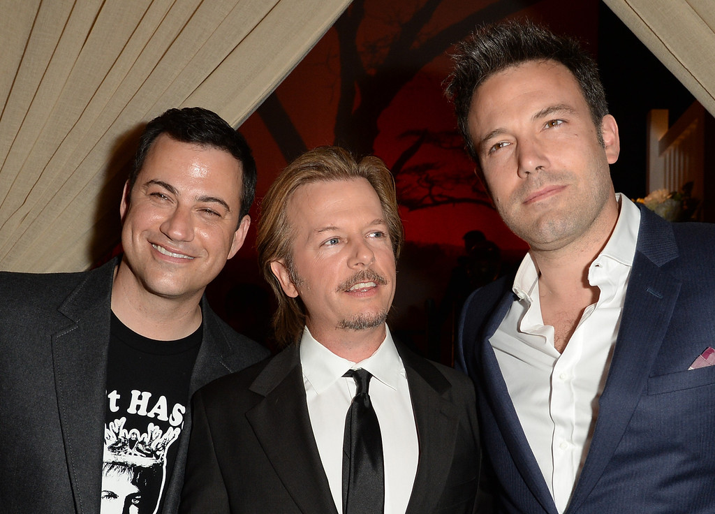 . CULVER CITY, CA - JUNE 08:  (L-R) TV personality Jimmy Kimmel, actor David Spade, and actor/director Ben Affleck attend Spike TV\'s Guys Choice 2013 at Sony Pictures Studios on June 8, 2013 in Culver City, California.  (Photo by Jason Merritt/Getty Images for Spike TV)