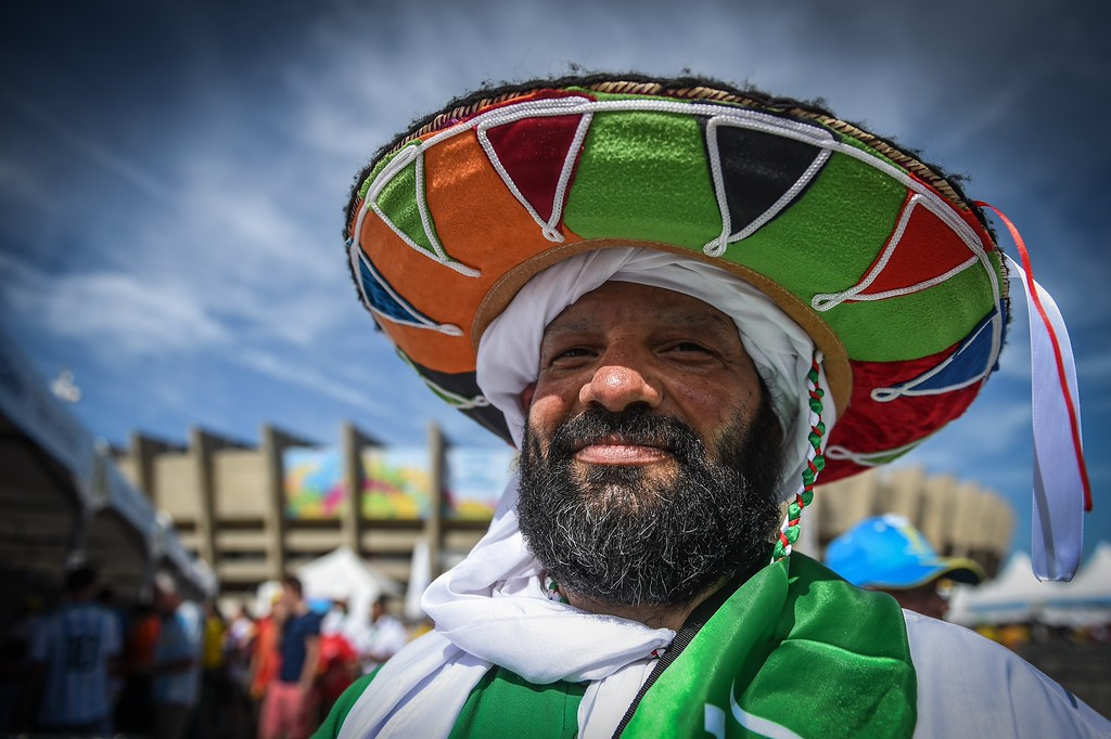 . Algerian supporters gather outside the Mineirao Stadium in Belo Horizonte, Brazil on June 17, 2014 before the match Belgium vs Algeria for the Group H of the FIFA World Cup Brazil 2014. AFP PHOTO / GUSTAVO  ANDRADE/AFP/Getty Images
