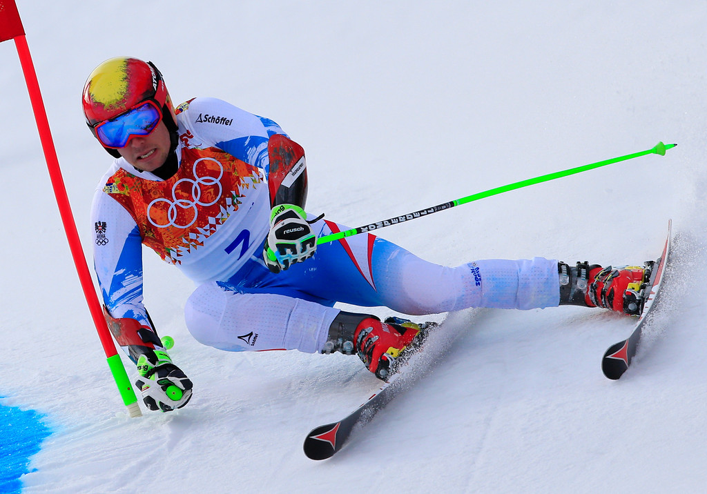 . Austria\'s Marcel Hirscher competes during the Men\'s Alpine Skiing Giant Slalom Run 1 at the Rosa Khutor Alpine Center during the Sochi Winter Olympics on February 19, 2014. AFP PHOTO / ALEXANDER  KLEIN/AFP/Getty Images