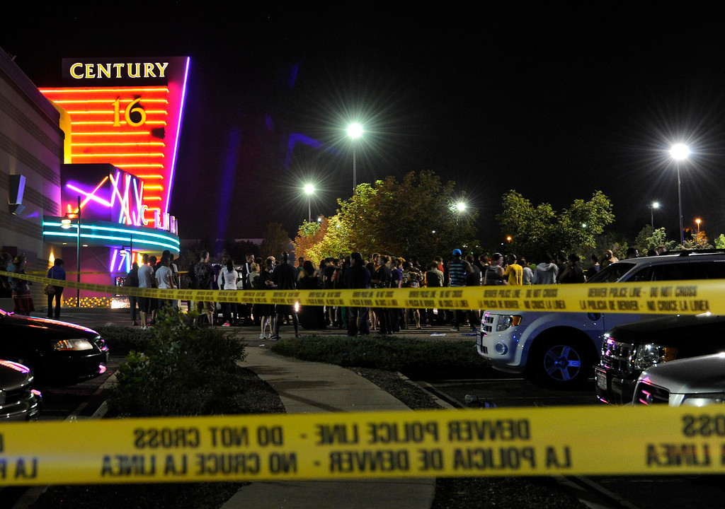 . Aurora Police rope off the area in front of the theater after responding to the Century 16 movie theatre early Friday morning, July 20, 2012. Karl Gehring/The Denver Post