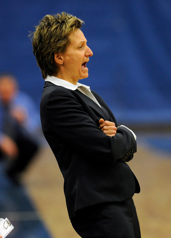 . PARKER, CO. - FEBRUARY 15: Highlands Ranch coach Caryn Jarocki offered her advice from the bench in the first half. The Legend High School girls\'s basketball team hosted Highlands Ranch Friday night, February 15, 2013. (Photo By Karl Gehring/The Denver Post)