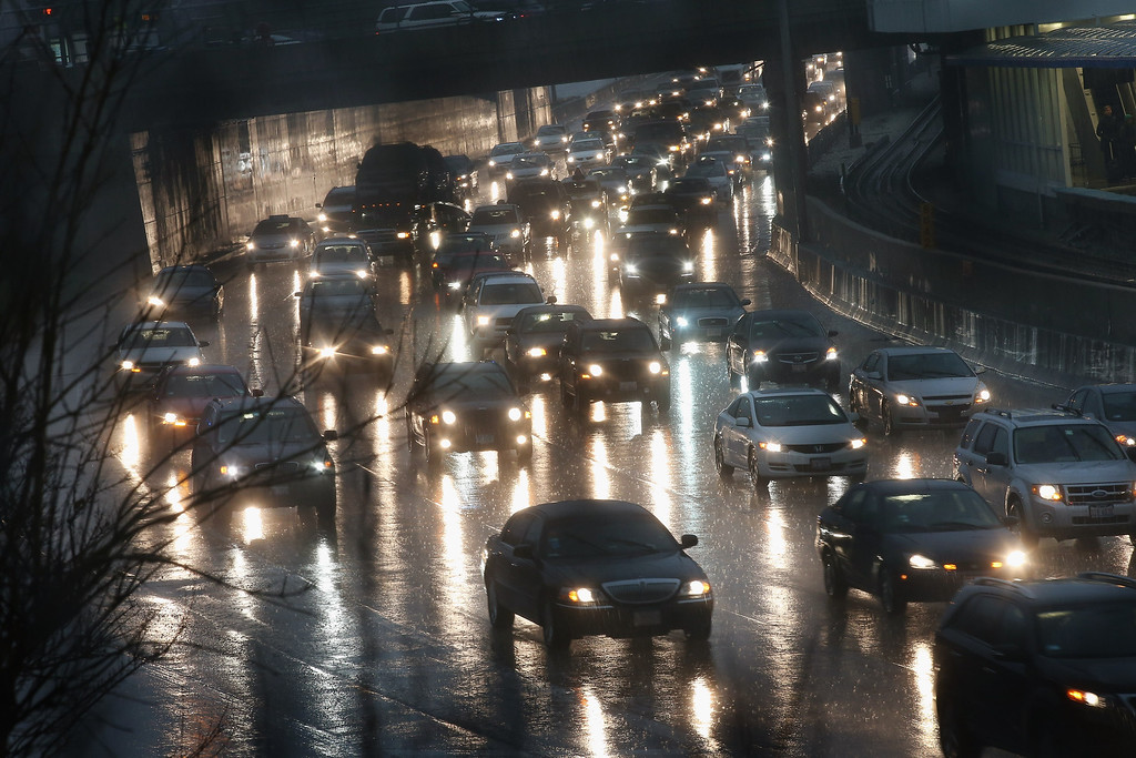 . CHICAGO, IL - APRIL 18:  Traffic backs up near a flooded section of the Kennedy Expressway on April 18, 2013 in Chicago, Illinois.   (Photo by Scott Olson/Getty Images)