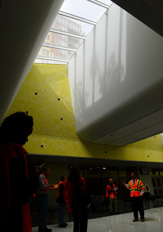 . DENVER, CO. - APRIL 25: Natural light from skylights help to light the new RTD Underground Bus Concourse at the Union Station Transit Center scheduled to open May 11, 2014. (Photo By Andy Cross / The Denver Post)
