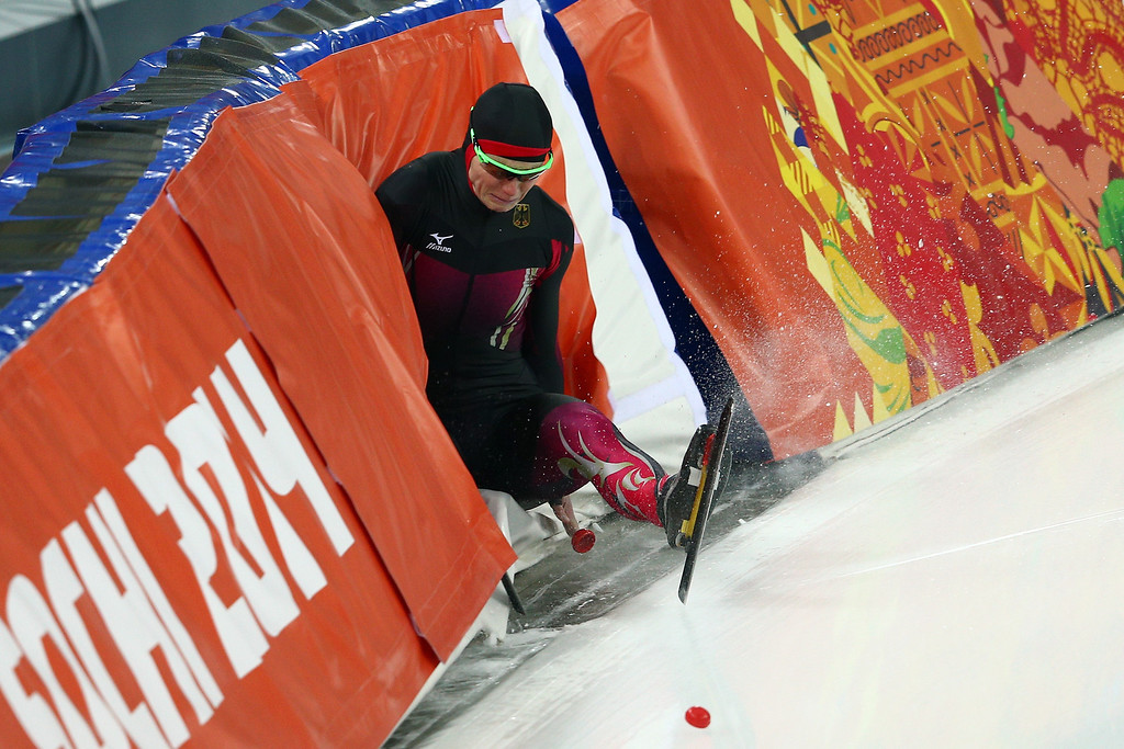 . Monique Angermueller of Germany falls while competing during the Women\'s 1000m Speed Skating event on day 6 of the Sochi 2014 Winter Olympics at Adler Arena Skating Center on February 13, 2014 in Sochi, Russia.  (Photo by Clive Mason/Getty Images)