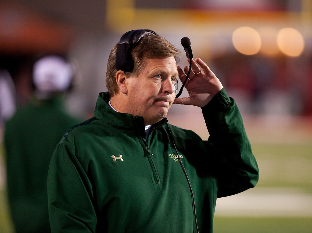 . Colorado State head football coach Jim McElwain reacts on the sideline in the first half of an NCAA college football game on Saturday, Nov. 16, 2013 in Albuquerque, N.M. Colorado State won 66-42. (AP Photo/Eric Draper)