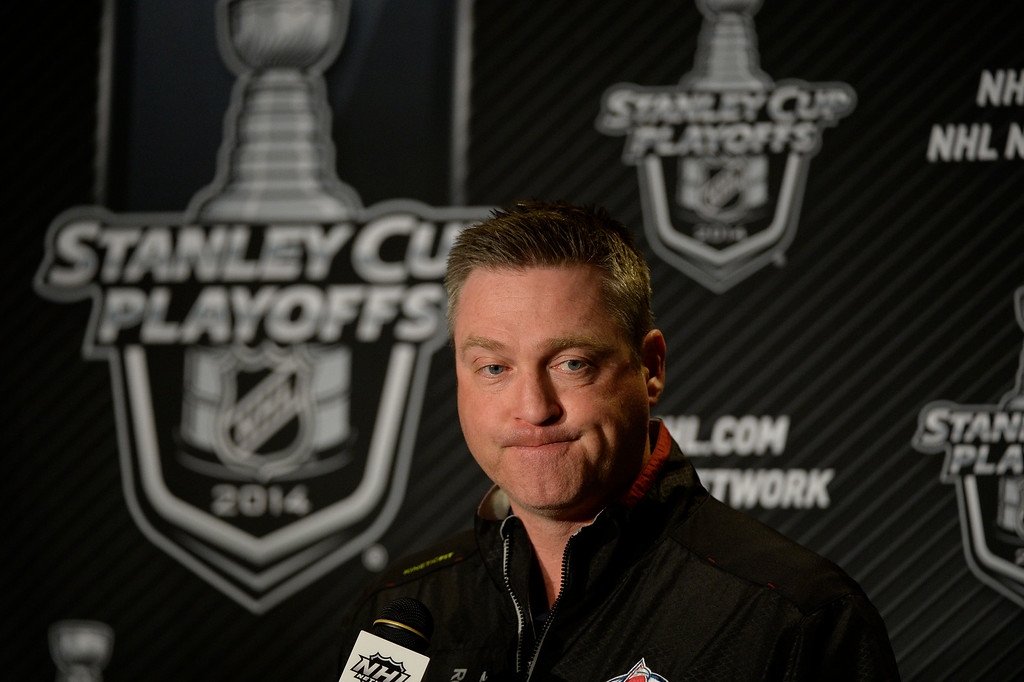 . ST PAUL, MN - APRIL 22: Colorado Avalanche head coach Patrick Roy addresses the media April 22, 2014 during a press conference at Xcel Energy Center. (Photo by John Leyba/The Denver Post)