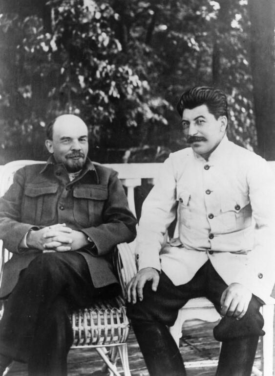 . Soviet Communist leader Joseph Stalin, right, with Soviet leader Vladimir Ilyich Lenin in Gorky.   (Photo by Keystone/Getty Images)