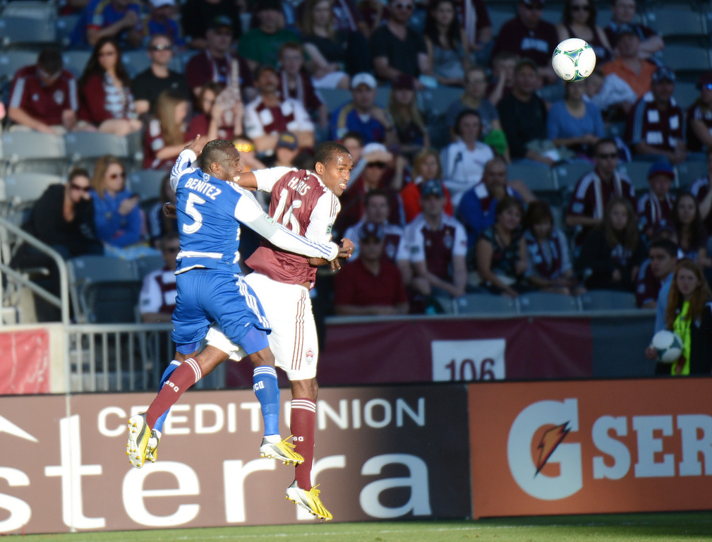 . COMMERCE CITY, CO. - June 01: Atiba Harris of Colorado Rapids (16) header against Jair Benitez of FC Dallas (5) during the 1st half of the game at Dick\'s Sporting Goods Park. Commerce City, Colorado. June 1, 2013. (Photo By Hyoung Chang/The Denver Post)