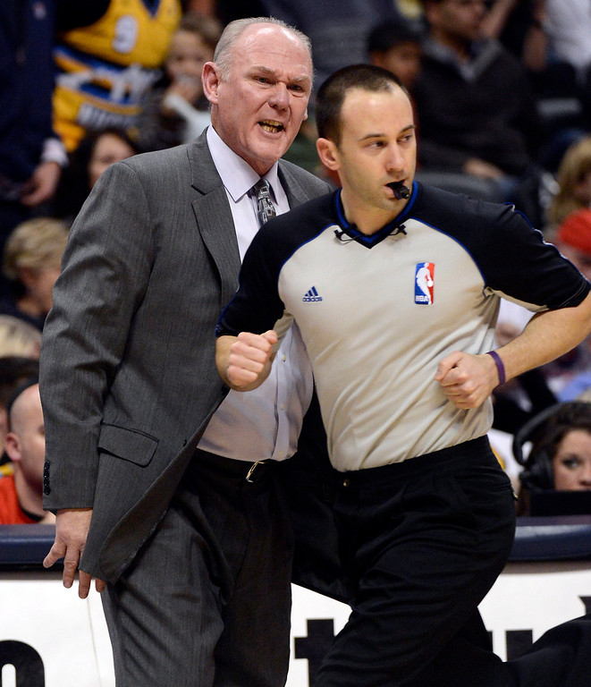 . DENVER, CO. - JANUARY 28: Denver Nuggets head coach George Karl screams at NBA referee Kane Fitzgerald during the second quarter January 28, 2013 at Pepsi Center. The Denver Nuggets host  the Indiana Pacers in NBA Action. (Photo By John Leyba / The Denver Post)