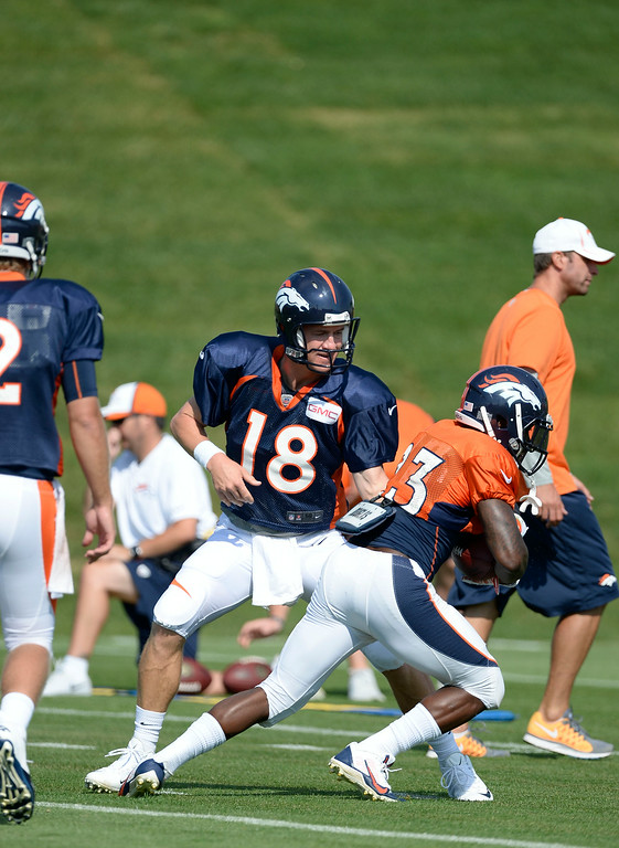 . Denver Broncos quarterback Peyton Manning (18) hands off to Denver Broncos running back Ronnie Hillman (23) during drills on day five of the Denver Broncos 2014 training camp July 28, 2014 at Dove Valley. (Photo by John Leyba/The Denver Post)