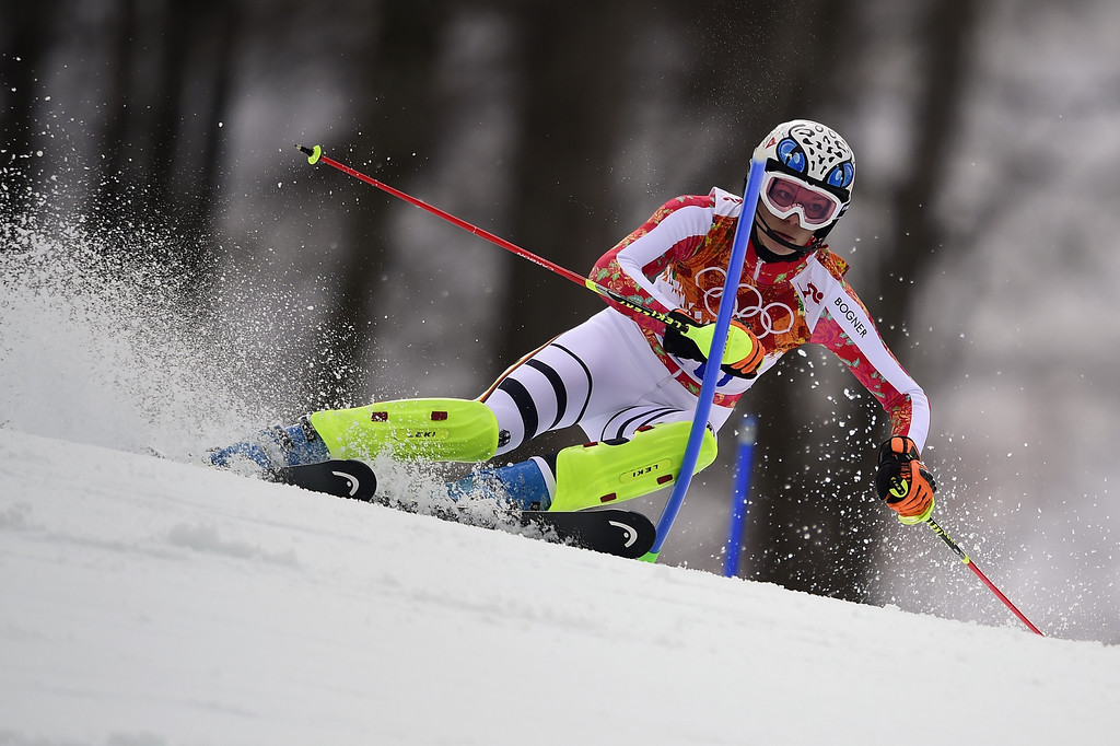 . Germany\'s Maria Hoefl-Riesch skis during the Women\'s Alpine Skiing Super Combined Slalom at the Rosa Khutor Alpine Center during the Sochi Winter Olympics on February 10, 2014.  AFP PHOTO / OLIVIER MORIN/AFP/Getty Images