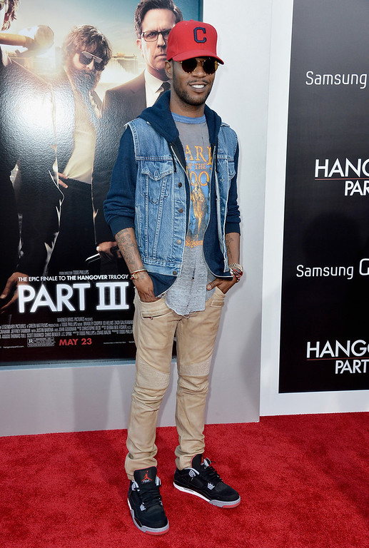 """. Rapper Kid Cudi attends the premiere of Warner Bros. Pictures\' \""""Hangover Part 3\"""" at Westwood Village Theater on May 20, 2013 in Westwood, California.  (Photo by Frazer Harrison/Getty Images)"""