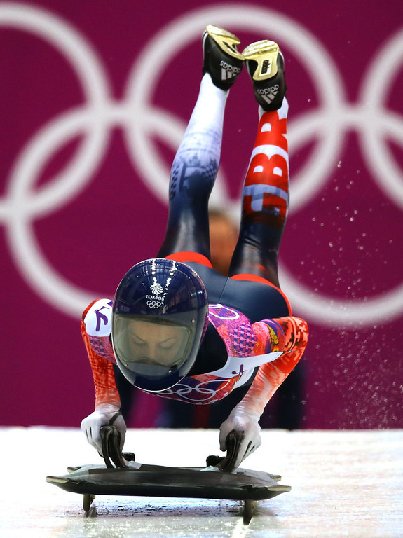 . Shelley Rudman of Great Britain makes a run during the Women\'s Skeleton heats on Day 6 of the Sochi 2014 Winter Olympics at Sliding Center Sanki on February 13, 2014 in Sochi, Russia.  (Photo by Doug Pensinger/Getty Images)