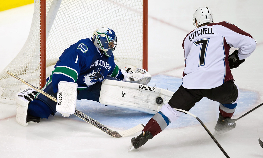 . Vancouver Canucks\' goalie Roberto Luongo, left, stops Colorado Avalanche\'s John Mitchell  during second period of an NHL hockey game in Vancouver, British Columbia on Sunday, Dec. 8, 2013. (AP Photo/The Canadian Press, Darryl Dyck)