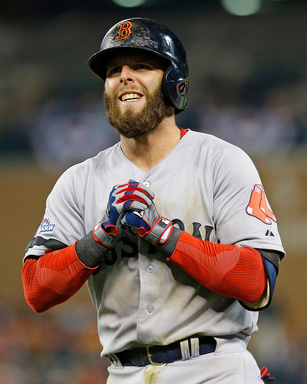 . Boston Red Sox\'s Dustin Pedroia reacts after grounding out in the seventh inning during Game 4 of the American League baseball championship series against the Detroit Tigers, Wednesday, Oct. 16, 2013, in Detroit. (AP Photo/Paul Sancya)