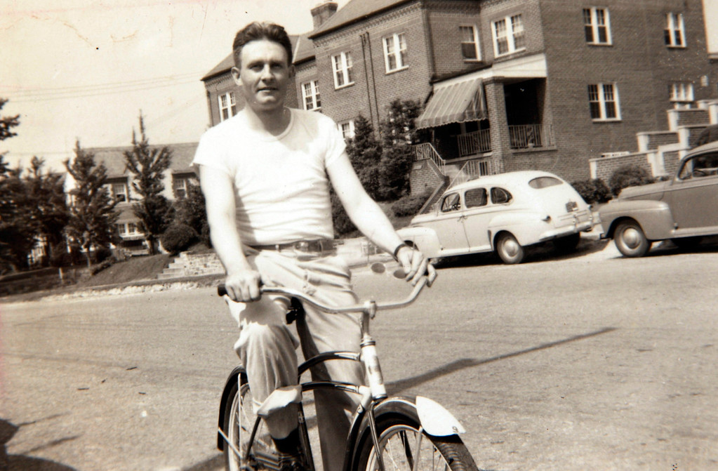 . Father Emil Kapaun rides a bike in Washington, D.C., in 1947. He attended Catholic University after leaving the Army after World War II. Father Emil Kapaun will be awarded the Medal of Honor on April 11, 2013.  (Courtesy of Marian Hurtig/Wichita Eagle/MCT)