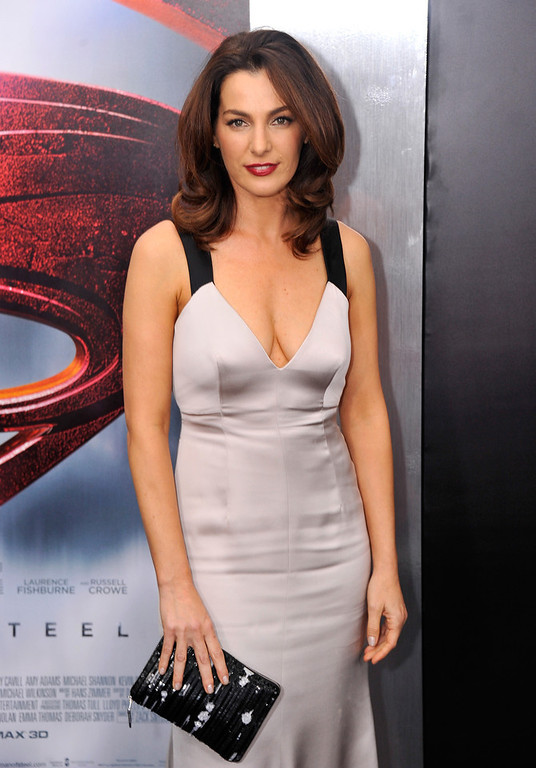 """. Actress Ayelet Zurer attends the \""""Man Of Steel\"""" world premiere at Alice Tully Hall at Lincoln Center on June 10, 2013 in New York City.  (Photo by Stephen Lovekin/Getty Images)"""