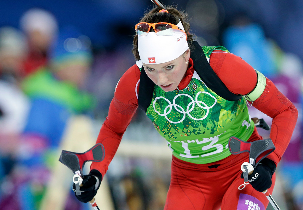 . Switzerland\'s Selina Gasparin competes during the mixed biathlon relay at the 2014 Winter Olympics, Wednesday, Feb. 19, 2014, in Krasnaya Polyana, Russia. (AP Photo/Lee Jin-man)