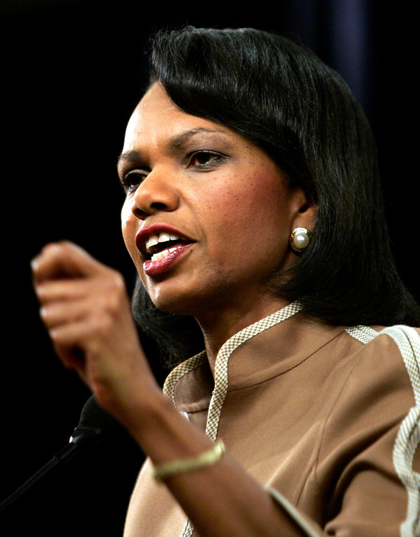 . Condoleezza Rice (born November 14, 1954) is an American political scientist and diplomat. She served as the 66th United States Secretary of State,  in the administration of President George W. Bush. Rice was the first female African-American secretary of state. Secretary of State Condoleezza Rice briefs the press at the State Department in Washington Friday, July 21, 2006. (AP Photo/Evan Vucci)