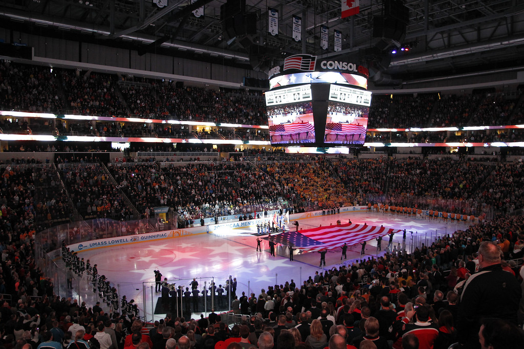 . PITTSBURGH, PA - APRIL 13:  A general view during the singing of the national anthem before the game between theYale Bulldogs and the Quinnipiac Bobcats during the game at Consol Energy Center on April 13, 2013 in Pittsburgh, Pennsylvania.  (Photo by Justin K. Aller/Getty Images)