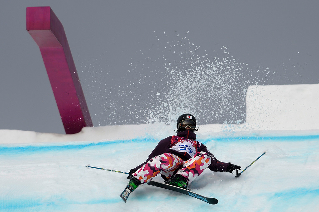 . Japan\'s Chiho Takao wipes out during the women\'s ski slopestyle qualifier. Sochi 2014 Winter Olympics on Tuesday, February 11, 2014. (Photo by AAron Ontiveroz/The Denver Post)