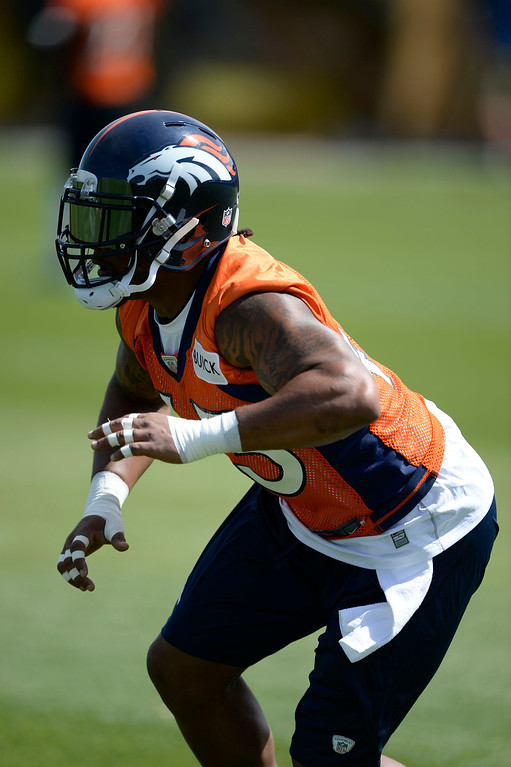 . Denver Broncos T.J. Ward (43) runs through drills during OTAs June 16, 2014 at Dove Valley. (Photo by John Leyba/The Denver Post)