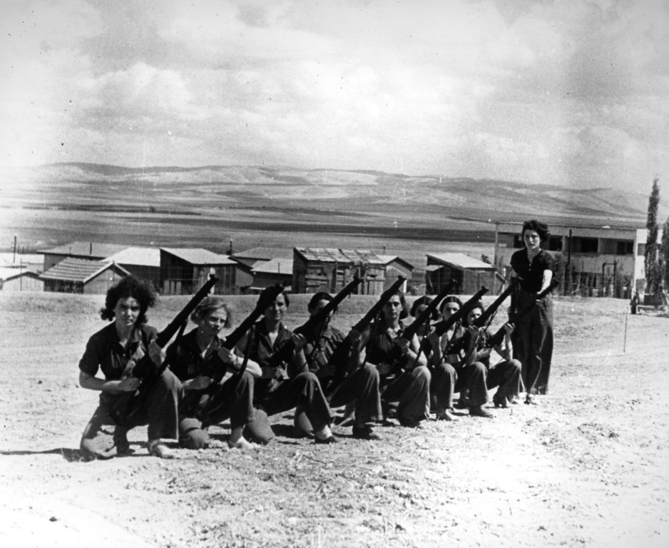 . Women of the Haganah train in one of their settlements in Palestine.    (Photo by London Express/Getty Images)